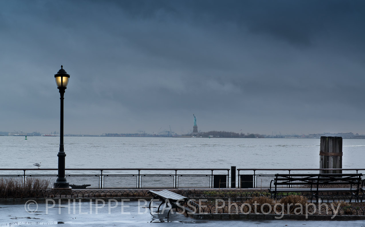 Miss Liberty waiting storm